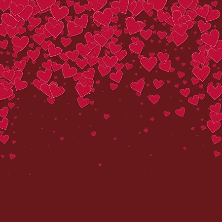 Red heart love confettis. Valentine's day falling rain captivating background. Falling stitched paper hearts confetti on maroon background. Cool vector illustration.