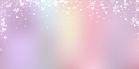 White heart love confettis. Valentines day falling rain likable background. Falling transparent hearts confetti on tender background. Ecstatic vector illustration.  イラスト・ベクター素材