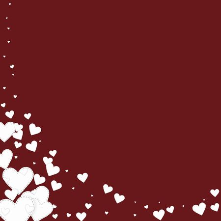 White heart love confettis. Valentines day corner curious background. Falling stitched paper hearts confetti on maroon background. Enchanting vector illustration.
