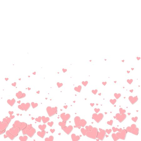 Pink heart love confettis. Valentine's day gradient fabulous background. Falling stitched paper hearts confetti on white background. Cute vector illustration.