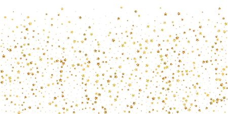 Gold stars random luxury sparkling confetti. Scattered small gold particles on white background. Brilliant festive overlay template. Mind-blowing vector illustration.