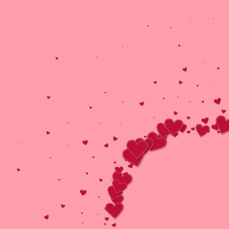 Red heart love confettis. Valentines day corner captivating background. Falling stitched paper hearts confetti on pink background. Ecstatic vector illustration.  イラスト・ベクター素材