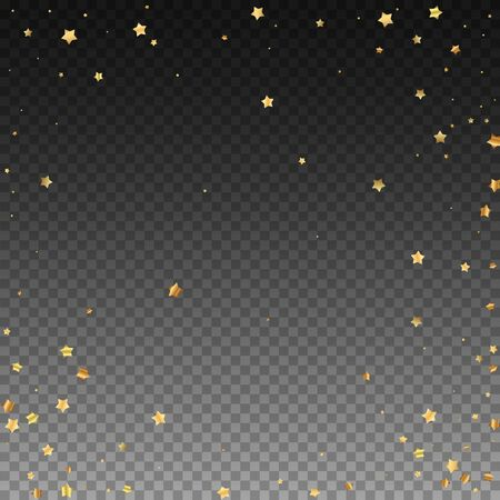 Gold stars random luxury sparkling confetti. Scattered small gold particles on transparent background. Appealing festive overlay template. Amusing vector illustration.