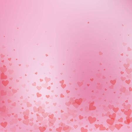 Red heart love confettis. Valentines day falling rain modern background. Falling transparent hearts confetti on color transition background. Creative vector illustration.