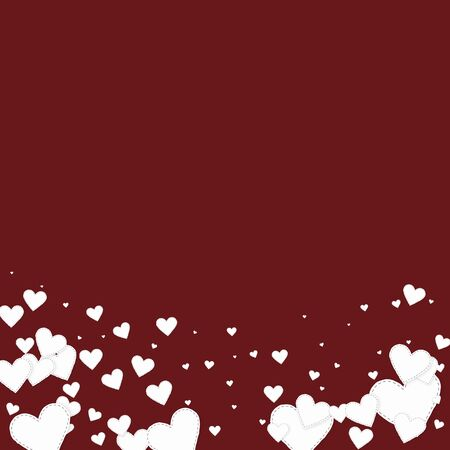White heart love confettis. Valentines day gradient graceful background. Falling stitched paper hearts confetti on maroon background. Exquisite vector illustration.