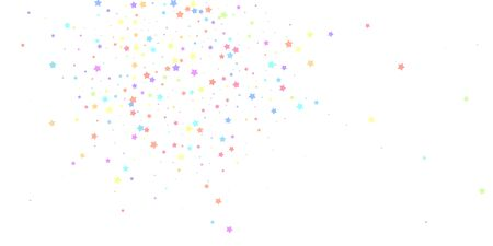 Festive confetti. Celebration stars. Colorful stars random on white background. Cute festive overlay template. Indelible vector illustration.