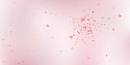 Red heart love confettis. Valentines day explosion fine background. Falling transparent hearts confetti on soft background. Divine vector illustration.