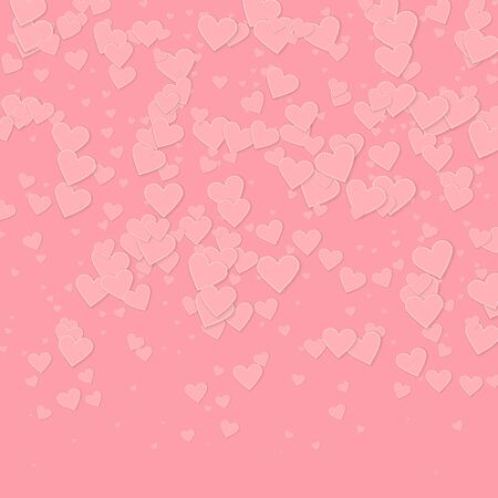 Pink heart love confettis. Valentines day gradient astonishing background. Falling stitched paper hearts confetti on pink background. Cute vector illustration.