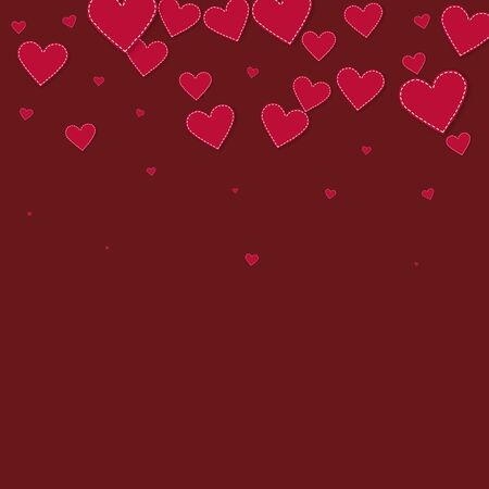 Red heart love confettis. Valentine's day gradient ravishing background. Falling stitched paper hearts confetti on maroon background. Curious vector illustration.
