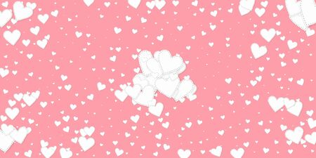 White heart love confettis. Valentines day explosion wondrous background. Falling stitched paper hearts confetti on pink background. Delicate vector illustration.  イラスト・ベクター素材