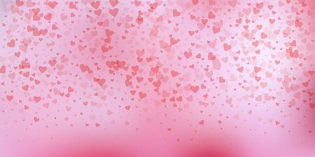 Red heart love confettis. Valentines day gradient noteworthy background. Falling transparent hearts confetti on delicate background. Exceptional vector illustration.