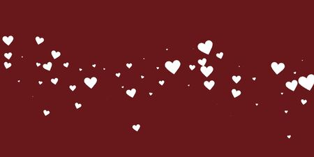 White heart love confettis. Valentine's day falling rain superb background. Falling stitched paper hearts confetti on maroon background. Ecstatic vector illustration. Illustration