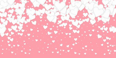 White heart love confettis. Valentines day falling rain wondrous background. Falling stitched paper hearts confetti on pink background. Dramatic vector illustration.