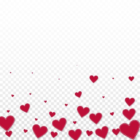 Red heart love confettis. Valentines day gradient fantastic background. Falling stitched paper hearts confetti on transparent background. Cute vector illustration.  イラスト・ベクター素材