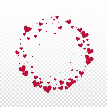 Red heart love confettis. Valentines day frame eminent background. Falling stitched paper hearts confetti on transparent background. Energetic vector illustration.