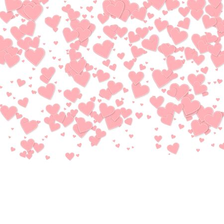 Pink heart love confettis. Valentines day gradient lovely background. Falling stitched paper hearts confetti on white background. Exotic vector illustration.