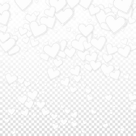 White heart love confettis. Valentines day gradient worthy background. Falling stitched paper hearts confetti on transparent background. Exotic vector illustration.