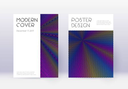 Minimal cover design template set. Rainbow abstract lines on dark blue background. Dazzling cover design. Radiant catalog, poster, book template etc. Banque d'images - 138225847