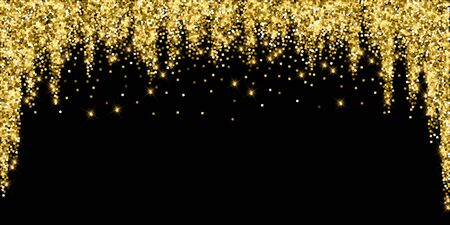 Sparkling gold luxury sparkling confetti. Scattered small gold particles on black background. Alive festive overlay template. Incredible vector illustration.