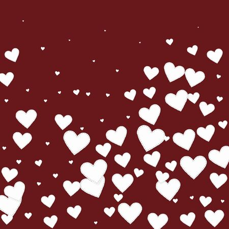 White heart love confettis. Valentines day gradient popular background. Falling stitched paper hearts confetti on maroon background. Cute vector illustration.