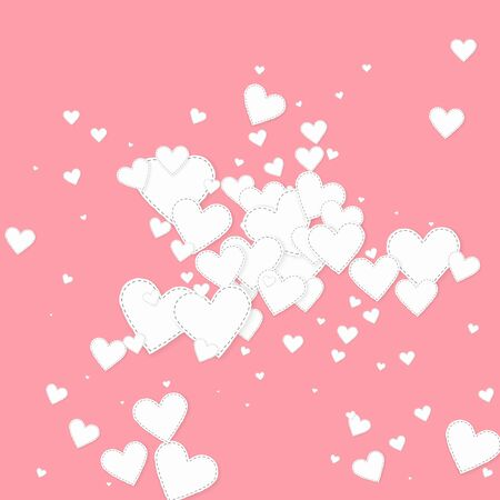 White heart love confettis. Valentines day explosion fine background. Falling stitched paper hearts confetti on pink background. Comely vector illustration.