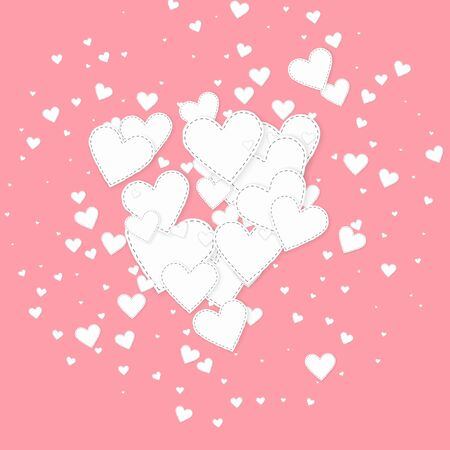 White heart love confettis. Valentines day explosion terrific background. Falling stitched paper hearts confetti on pink background. Classy vector illustration.