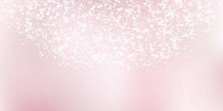White heart love confettis. Valentines day semicircle fair background. Falling transparent hearts confetti on pinkish background. Exquisite vector illustration.  イラスト・ベクター素材