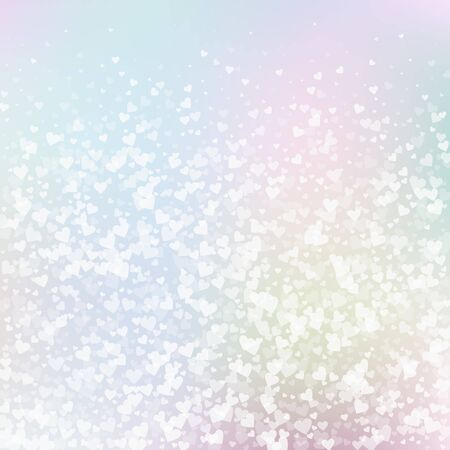 White heart love confettis. Valentines day gradient surprising background. Falling transparent hearts confetti on gentle background. Cute vector illustration.