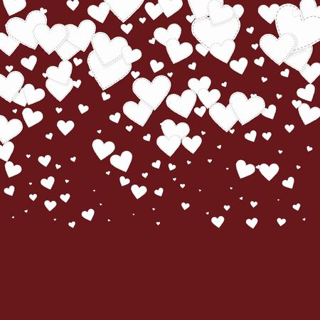 White heart love confettis. Valentine's day gradient tempting background. Falling stitched paper hearts confetti on maroon background. Curious vector illustration.