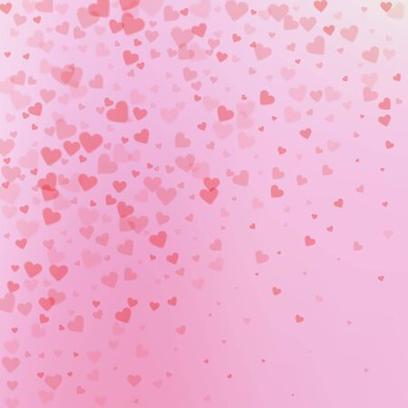 Red heart love confettis. Valentines day gradient beautiful background. Falling transparent hearts confetti on gradient background. Dazzling vector illustration.