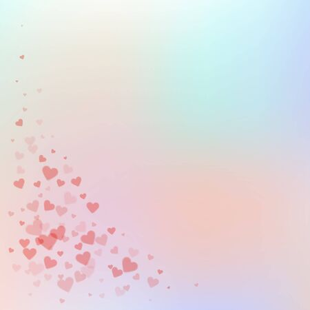 Red heart love confettis. Valentines day corner overwhelming background. Falling transparent hearts confetti on gentle background. Divine vector illustration.