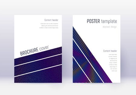 Geometric cover design template set. Rainbow abstract lines on dark blue background. Brilliant cover design. Marvelous catalog, poster, book template etc. Banque d'images - 138224978