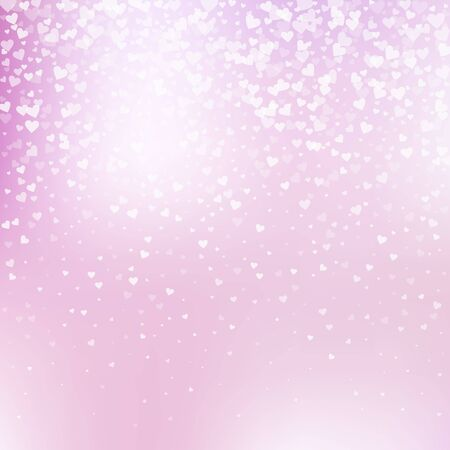 White heart love confettis. Valentines day gradient awesome background. Falling transparent hearts confetti on gentle background. Exquisite vector illustration.