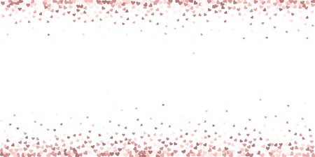 Pink heart love confettis. Valentines day border gorgeous background. Falling flat hearts confetti on white background. Decent vector illustration.  イラスト・ベクター素材