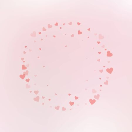 Red heart love confettis. Valentines day frame extraordinary background. Falling transparent hearts confetti on gentle background. Energetic vector illustration.  イラスト・ベクター素材