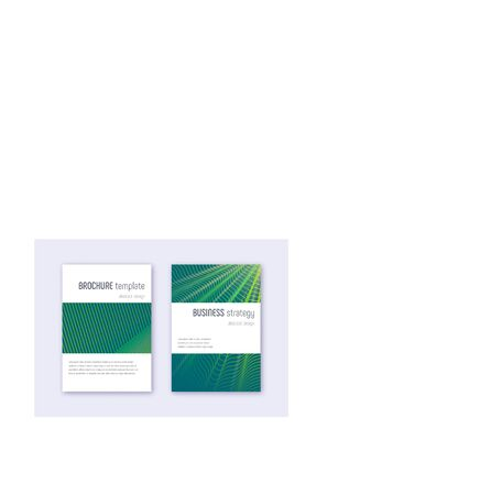 Minimalistic cover design template set. Green abstract lines on dark background. Enchanting cover design. Ecstatic catalog, poster, book template etc.