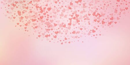 Red heart love confettis. Valentines day semicircle enchanting background. Falling transparent hearts confetti on soft background. Exquisite vector illustration.
