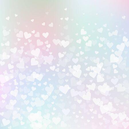 White heart love confettis. Valentines day gradient stunning background. Falling transparent hearts confetti on gradient background. Cute vector illustration.  イラスト・ベクター素材