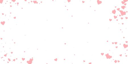 Pink heart love confettis. Valentines day vignette nice background. Falling stitched paper hearts confetti on white background. Exquisite vector illustration.