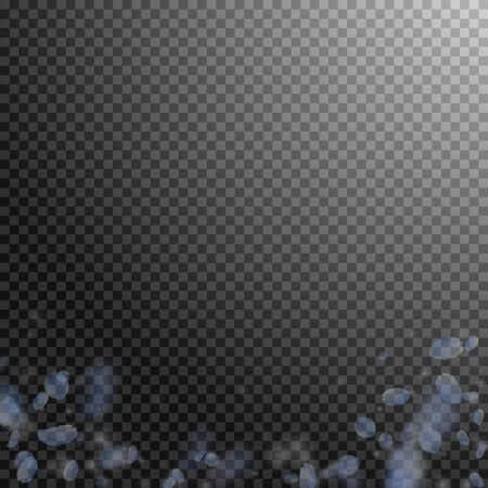 Light blue flower petals falling down. Splendid romantic flowers gradient. Flying petal on transparent square background. Love, romance concept. Classic wedding invitation.