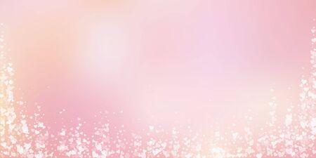 White heart love confettis. Valentines day falling rain alluring background. Falling transparent hearts confetti on soft gradient background. Eminent vector illustration.