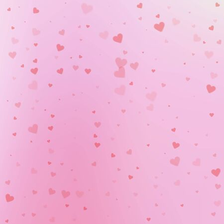 Red heart love confettis. Valentines day falling rain noteworthy background. Falling transparent hearts confetti on gradient background. Curious vector illustration.