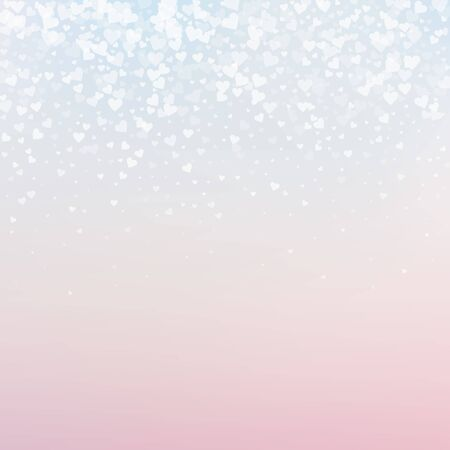 White heart love confettis. Valentines day gradient alive background. Falling transparent hearts confetti on gentle background. Cute vector illustration.  イラスト・ベクター素材