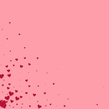 Red heart love confettis. Valentines day corner awesome background. Falling stitched paper hearts confetti on pink background. Elegant vector illustration.
