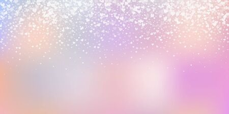 White heart love confettis. Valentine's day gradient decent background. Falling transparent hearts confetti on gentle background. Exceptional vector illustration.