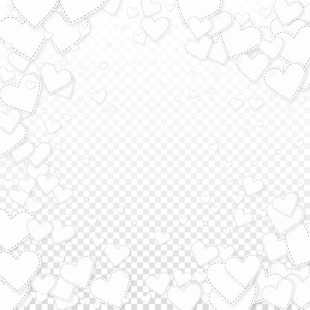 White heart love confettis. Valentines day vignette wonderful background. Falling stitched paper hearts confetti on transparent background. Dazzling vector illustration.