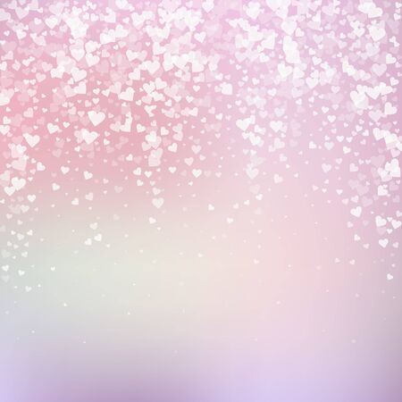 White heart love confettis. Valentines day falling rain exotic background. Falling transparent hearts confetti on delicate background. Cool vector illustration.