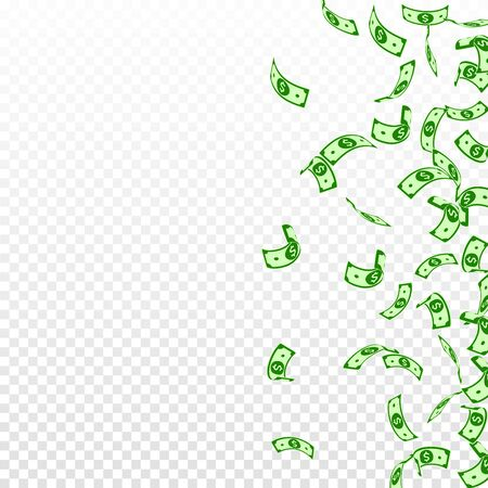 American dollar notes falling. Sparse USD bills on transparent background. USA money. Cool vector illustration. Surprising jackpot, wealth or success concept.