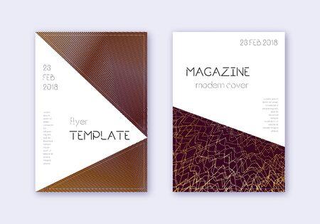 Conjunto de plantillas de diseño de portada triangular. Líneas abstractas de oro sobre fondo marrón. Impresionante diseño de portada. Catálogo fascinante, póster, plantilla de libro, etc.