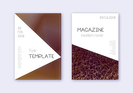 Triangle cover design template set. Gold abstract lines on maroon background. Impressive cover design. Bewitching catalog, poster, book template etc.